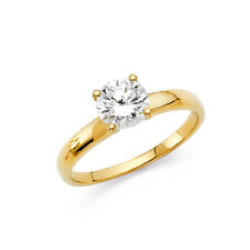 6.5 Mm Cz Solitaire Engagement Wedding Ring 14k Yellow Solid Gold Round 1 Ct