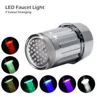 LED Tap luz grifo baño Lavabo cocina Cascada Grifería Temperatura Sensor Colores