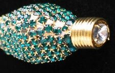 GREEN RHINESTONE OLD WORLD CHRISTMAS TREE LIGHT BULB PIN BROOCH JEWELRY 3D NICE
