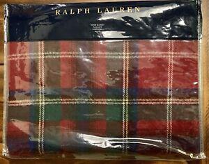 "NIP Ralph Lauren Castleford Plaid Wool & Linen Throw Blanket - Red/Multi 54""x72"""