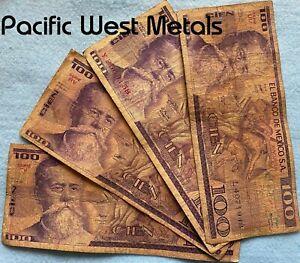 Lot of 4 CIRCULATED Mexico Banknote Cien 100 Pesos Paper Money Mexican bills