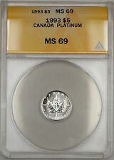 1993 Canada $5 Dollar Maple Leaf Platinum Coin ANACS MS-69