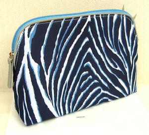 Job Lot of 5 x  Estee Lauder Blue & White Stripe  Patterned Make Up Bags New