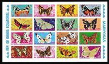Eq. Guinea Butterflies Sheetlet of 16v Imperf RARR 1974 ** MNH