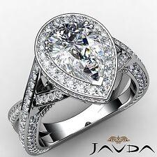 Halo Pre-Set Pear Diamond Cross Shank Engagement Ring GIA F VS2 Platinum 2.95ct