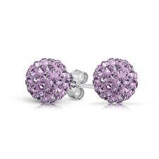 925 Silver and Crystal Shamballa Swarovski ElementsStud Earrings_ Amethyst