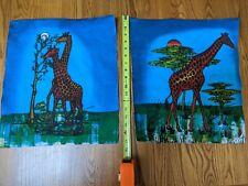 "Pair African Giraffe Batik Painting Wall Art Canvas 14"" x 17"""