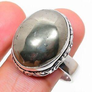 Pyrite Gemstone Handmade 925 Sterling Silver Jewelry Ring Size 9