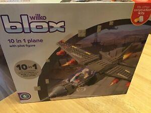 Wilko Blox 10 In 1 Plane & Pilot Figure Brand New Unopened Bricks Leg O build