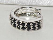 Argento Sterling Diamante Nero Bracciale/abbraccino Orecchino Singolo-Uomo/Donna