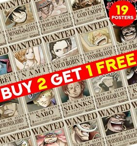 One Piece Wanted Posters Straw Hats Wanted Poster Art Wall Home Room Decor ED031