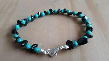 Ladies Costume Turquoise Bead & Black Agate Bracelet