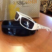 New Giorgio Armani Sunglasses Blue Lenses +White with Floral Print Temples Italy