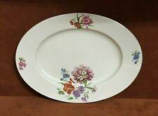 "Vintage Bohemia Czecho Slowakia 13 1/4"" Oval Serving Platter ~ Floral Rose"