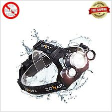Rechargeable LED Headlamp Mounted Flashlight's for Camping Fishing Waterproof