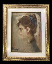 quadro dipinto a mano Antico su tela olio firmato ritratto donna con cornice