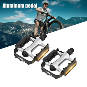 """Pair Bicycle Pedals for Road Mountain Bike Metal Alloy Flat Platform 9/16"""" Inch"""