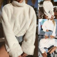 Women Winter Fluffy Crop Turtleneck Pullover Knitted Sweater Jumper Knitwear Top