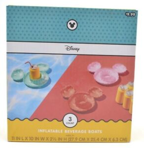 Disney Target Mickey Mouse 3 piece Inflatable Drink Holders Pool Float Vacation