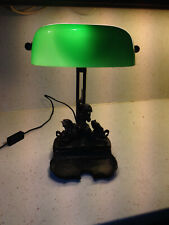 Lampe de bureau vintage opaline verte