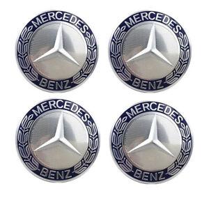 4X 75mm Hubcaps Center Wheel Caps Rim Emblem Logo Dark Blue for Mercedes Benz