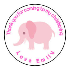 Girls Pink Cute Elephant Christening Thank You Stickers,Sweet cones, Gift, Cake