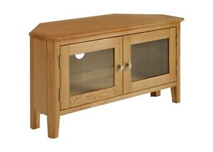"Retro Oak Corner TV Stand / Media Cabinet Glazed Doors / Television Unit 42"""