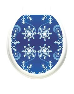 Toilet Tattoos Snow Crystals Vinyl Removable Christmas  Lid  Decoration