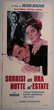 Locandina SORRISI DI UNA NOTTE D'ESTATE 1957 RARA!!! FILM DI INGMAR BERGMAN