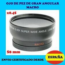 OBJETIVO GRAN ANGULAR LENTE x0.45 MACRO 58mm OJO DE PEZ CANON NIKON ENVIO CERTIF
