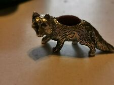 More details for vintage sterling silver fox pin cushion with ruby red eyes