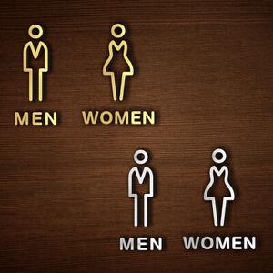 Woman & Man Acrylic Toilet Door Sign Restroom WC Door Sign Wall Sticker Decor