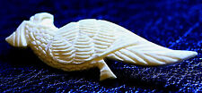 OLD VINTAGE PARROT NATURAL GRAINED BOVINE BONE PIN/ BROOCH