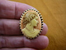 Cameo oval Pin brooch Pendant necklace (Cs6-19) Woman Hair up orange + ivory