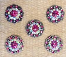 """5-1.25"""" BERRY Antique Concho PINK Bling for Headstall spur Chap Saddle Pad Craft"""