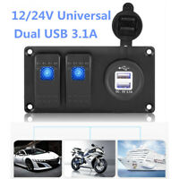 2-Gang LED Rocker Switch Panel Circuit Breaker Dual USB Charger Car Marine Boat