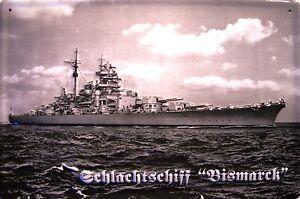 Schlachtschiff Bismarck 2.WK Blechschild Schild 3D geprägt Tin Sign 20 x 30 cm