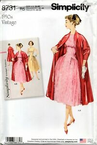 Simplicity Sewing Pattern 8731 Misses' Vintage Dress and Lined Coat Size 14-22