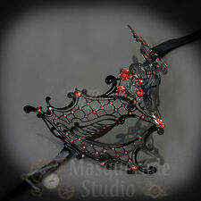 Womens Black Metal Phantom Laser-Cut Masquerade Prom Mask [Red Rhinestones]