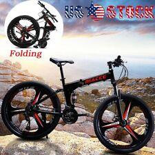 """26"""" Folding Mountain Bike Shimano 21 Speed Bicycle Full Suspension MTB Bikes US"""
