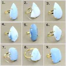 Fashion Natural Blue Opal 24k Gold Plated Prong Adjustable Ring Gemstone Jewelry