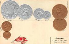 JAPAN COINS FLAG & RATE TABLE EMBOSSED PATRIOTIC POSTCARD (c. 1905)