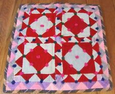 Antique Pa c 1900 Square in Square Doll Quilt Amish Mennonite