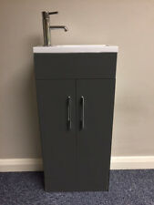 Anthracite Grey 370 mm Bathroom Basin Sink & Vanity Unit Compact Furniture - NEW