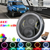 7'' Schwarz LED Haupt Scheinwerfer RGB Angel Eyes Bluetooth für Jeep Ford Lada