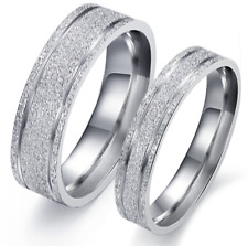 Stainless Steel Promise Love Silver Dull Polish Simple Design Love Couple Rings