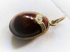 Antiker Russischer Ei Silber Anhänger Stil Faberge   Silber vergoldet mit Emaile
