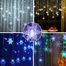 LED Curtain Fairy String Lights Christmas Snowflake Window Garden Party Decor UK