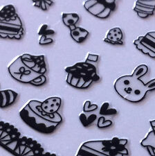 Nail Art 3D Sticker Black Cake Cupcake Icecream Bow Bunny Bear 50pcs + 2 strips