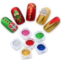 Christmas Nail Glitter Powder Chrome Mirror Dust Nail Art Pigment Tips Decor DIY
